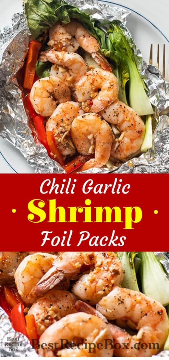 Quick Foil Baked Chili Garlic Shrimp With Vegetables