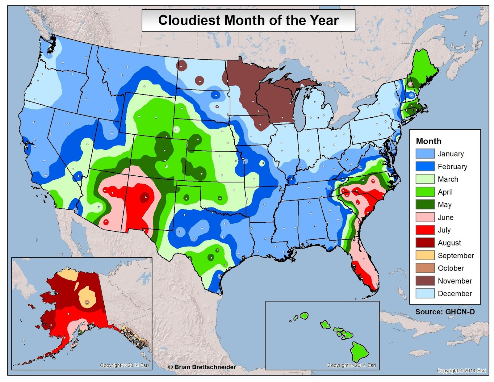 Brian Bs Climate Blog Average Cloudiness - Us map climate