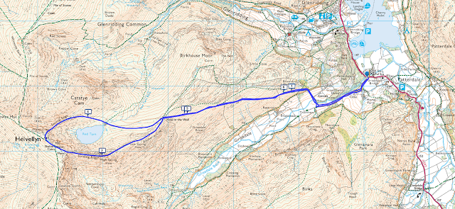Map walking route Striding Edge, Helvellyn, walk, hike, route, Patterdale, Glenridding, Ullswater, Lake District