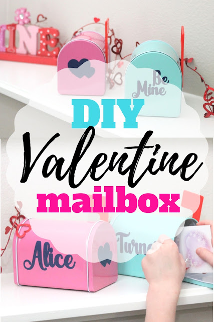 Create your own personalized DIY Valentine Mailbox with this simple tutorial and vinyl letters