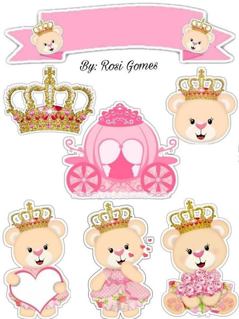 Osita Princesa en Rosa: Toppers para Tartas, Tortas, Pasteles, Bizcochos o Cakes para Imprimir Gratis.