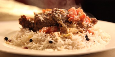 Slow cooked lamb with fetta and tomatoes