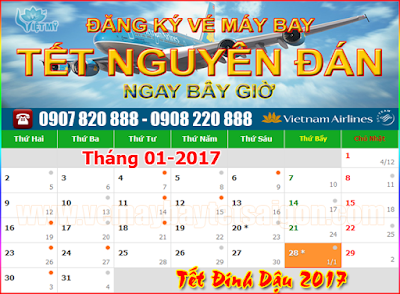 xem lich tet 2017, tet am lich 2017, ve may bay tet 2017