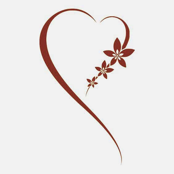 Simple heart with flower tattoo ideas
