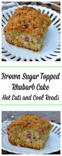 This cake is absolutely perfect with the tart rhubarb and crunchy brown sugar topping! Brown Sugar Topped Rhubarb Cake Recipe from Hot Eats and Cool Reads