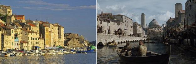 Kota tepi laut Šibenik menjadi pelabuhan Braavos yang ramai; gambar via Skyscanner (kiri) dan Winter Is Coming (kanan).