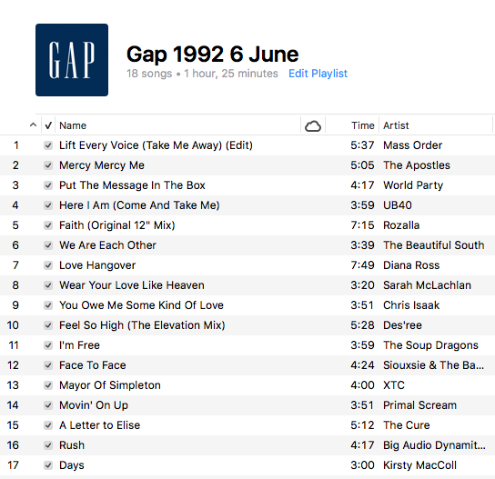 An Obsessive Guide to Music Played at the Gap in the Nineties and