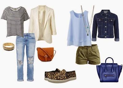 Ténis leopardo com jeans, t-shirt riscas, blazer branco e mala camel ou ténis leopardo com calções verde seco, top azul claro, blusão de ganga e mala azul