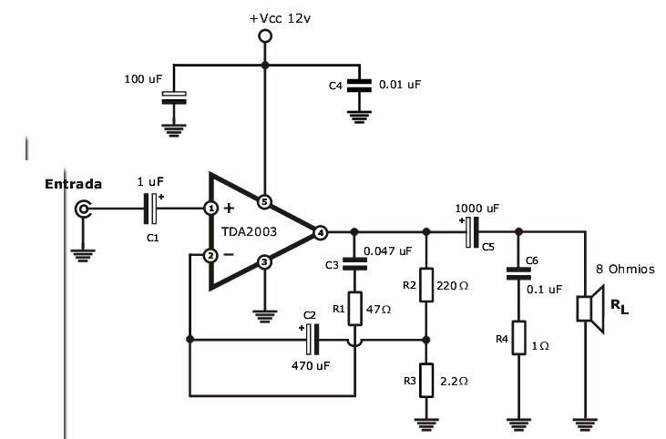 stereo tone controlled 12v amplifier circuit with tda2003 tda2003