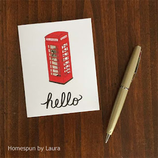 homespun by laura, watercolor, london, london phone booth, phone booth, notecard, hello, stationery