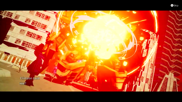 Daemon X Machina boss battle Crimson Lord cutscene explosion