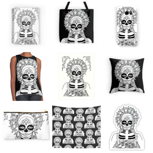 Sugar skull art prints on Redbubble. Inktober 2016 begins! Inktober is an art challenge running every October. The rules are simple: make a drawing in ink, post it online and hashtag with #inktober and #inktober2016 and repeat.