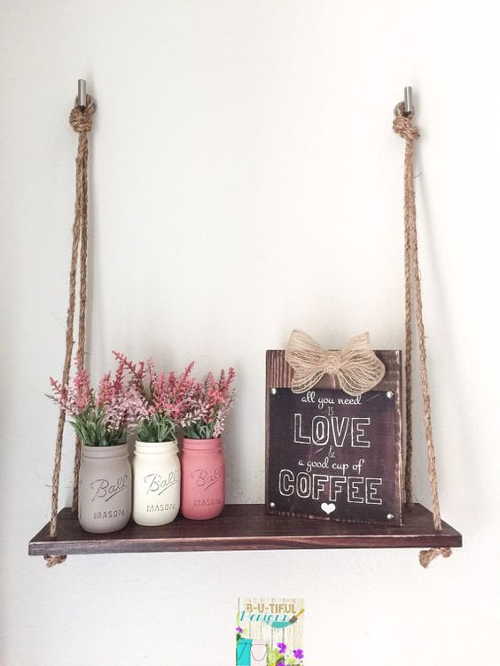 Manualidades de estante cuerdas y madera