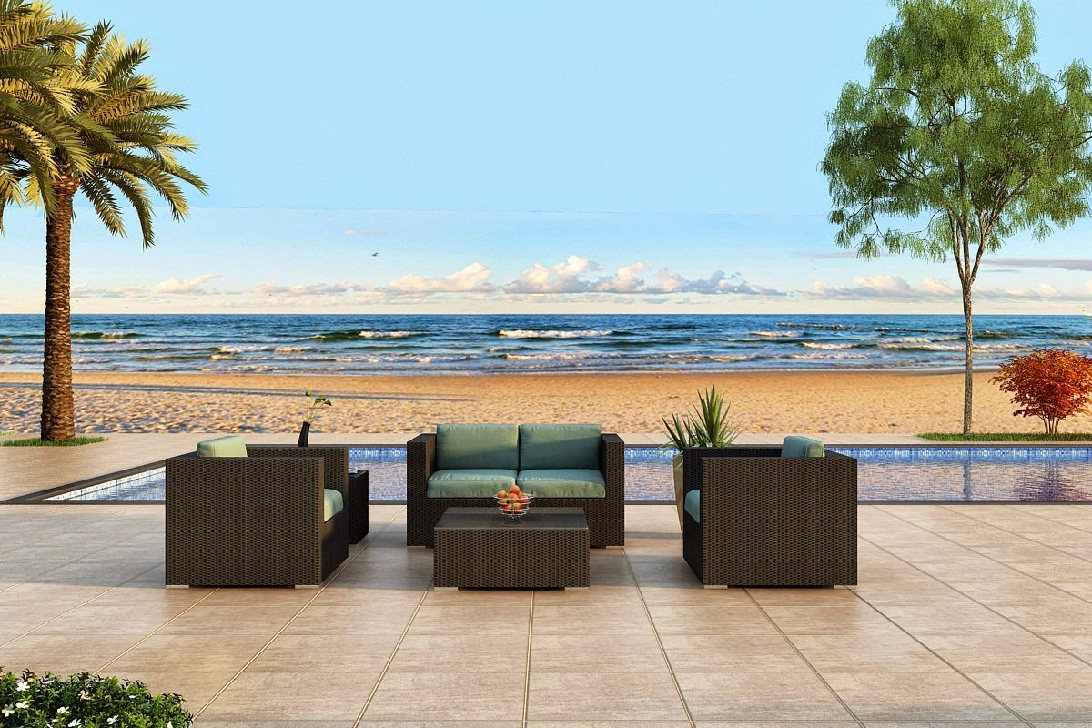 Harmonia Living Urbana 4 Piece Outdoor Wicker Patio Sofa Set with Turquoise Sunbrella Cushions