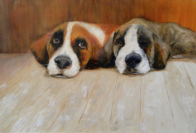 Double Troiuble, oil painting, two puppies, animal portrait by Karen