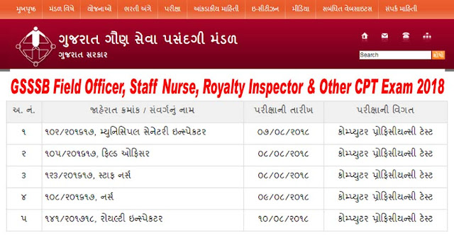 GSSSB Selection List for Field Officer, Staff Nurse, Royalty Inspector & Other CPT Exam 2018