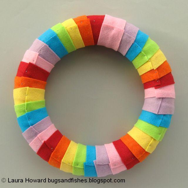 rainbow wreath in progress