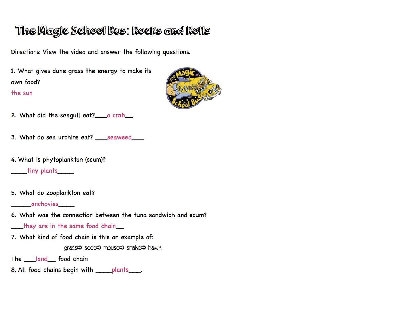 Magic School Bus Wet All Over Worksheet Answers - Worksheets
