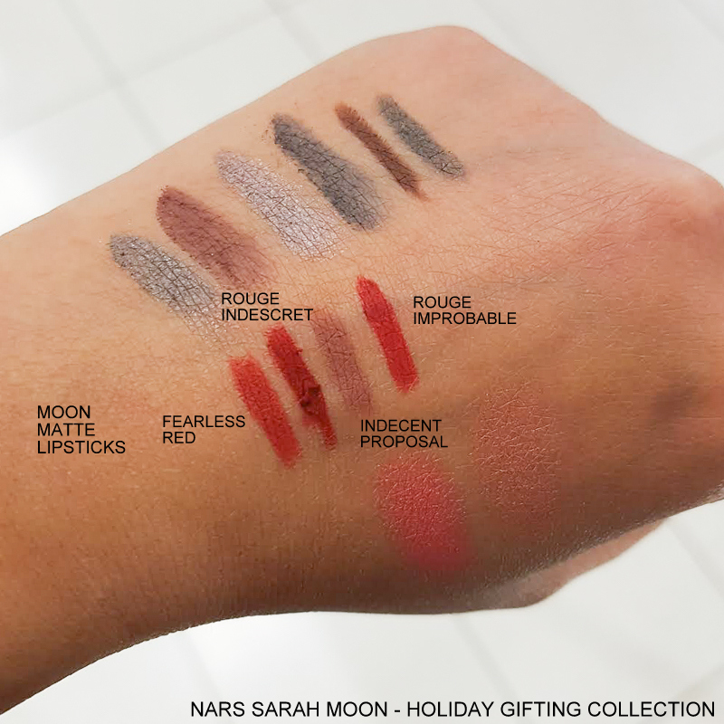 NARS Sarah Moon Holiday Color Collection - Swatches Moon Matte Lipsticks Fearless Red - Rouge Indescret - Indecent Proposal - Rouge Improbable