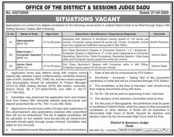 Office Of The District And Session Judge Dadu Jobs May 2020