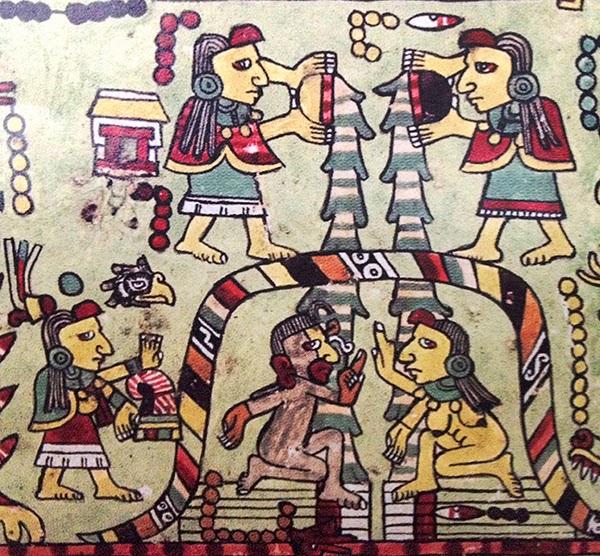 En el Códice Nuttall están representadas algunas escenas de una boda de los mixtecos de Oaxaca, México. Así en una de las escenas se observa a una pareja, la mujer llamada 3 Pedernal y el hombre 12 Viento, recibiendo un temazcal antes del casamiento. El cuerpo del hombre está pintado de negro y la mujer va desnuda luciendo un pectoral. Dos mujeres, 10 Casa (Izquierda) y 6 Pedernal (Derecha) echan agua sobre ellos.