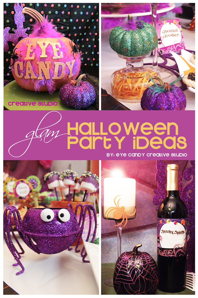glam halloween party, shocktail party, ideas for halloween party decor