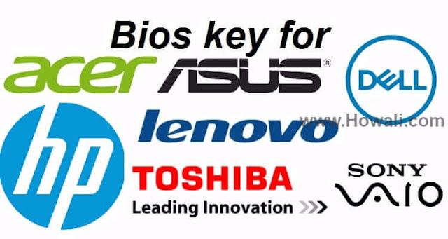 Bios Key for Popular Laptop Manufacturers [Acer, Asus, Dell
