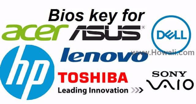 HP ACER Dell lenovo Toshiba Sony Vaio Asus Bios key