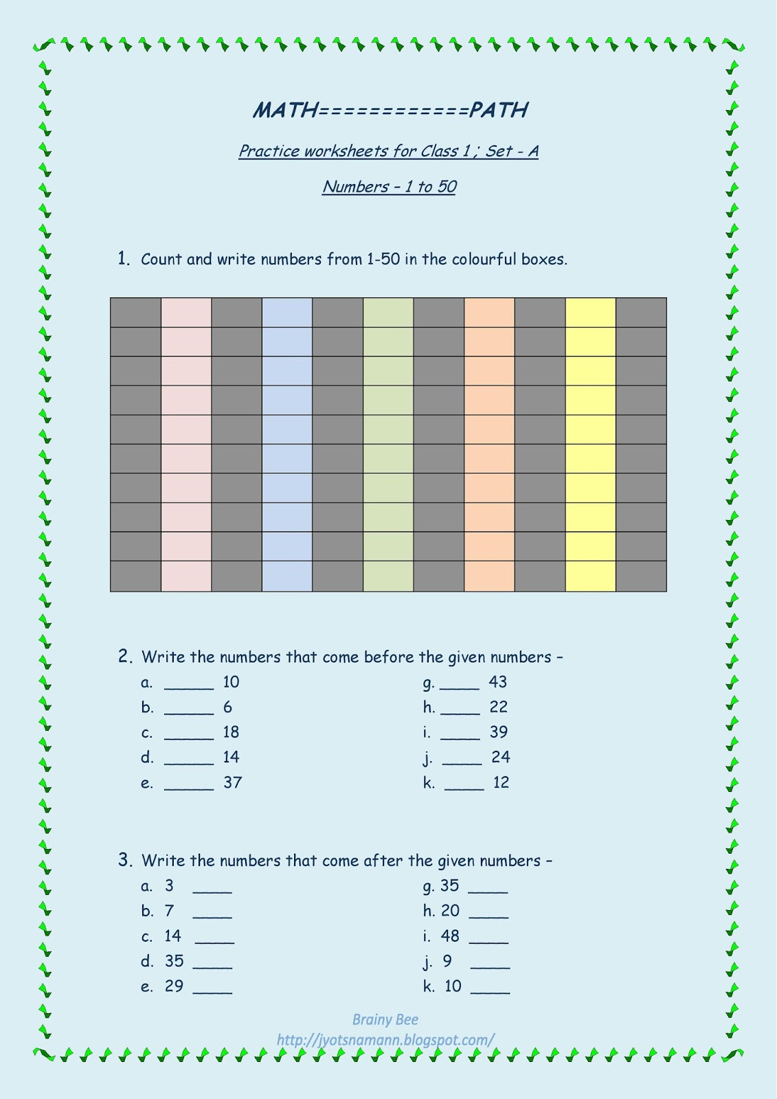 Great Ideas and Positive Thoughts!!: Brainy Bee - Maths Printable ...