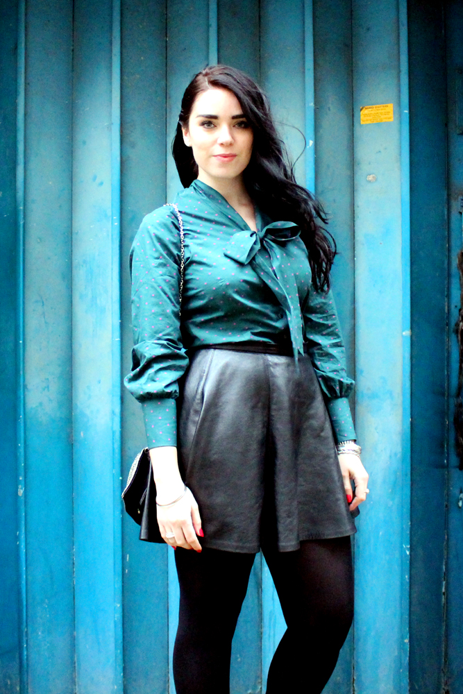 London fashion blogger Emma Louise Layla in TM Lewin turquoise pussy bow blouse - style blog