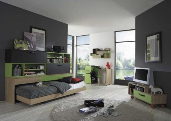 para jóvenes en color verde y gris  Dormitorios colores y estilos