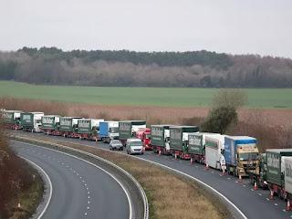 Trucks used to test UK's no-deal Brexit preparedness