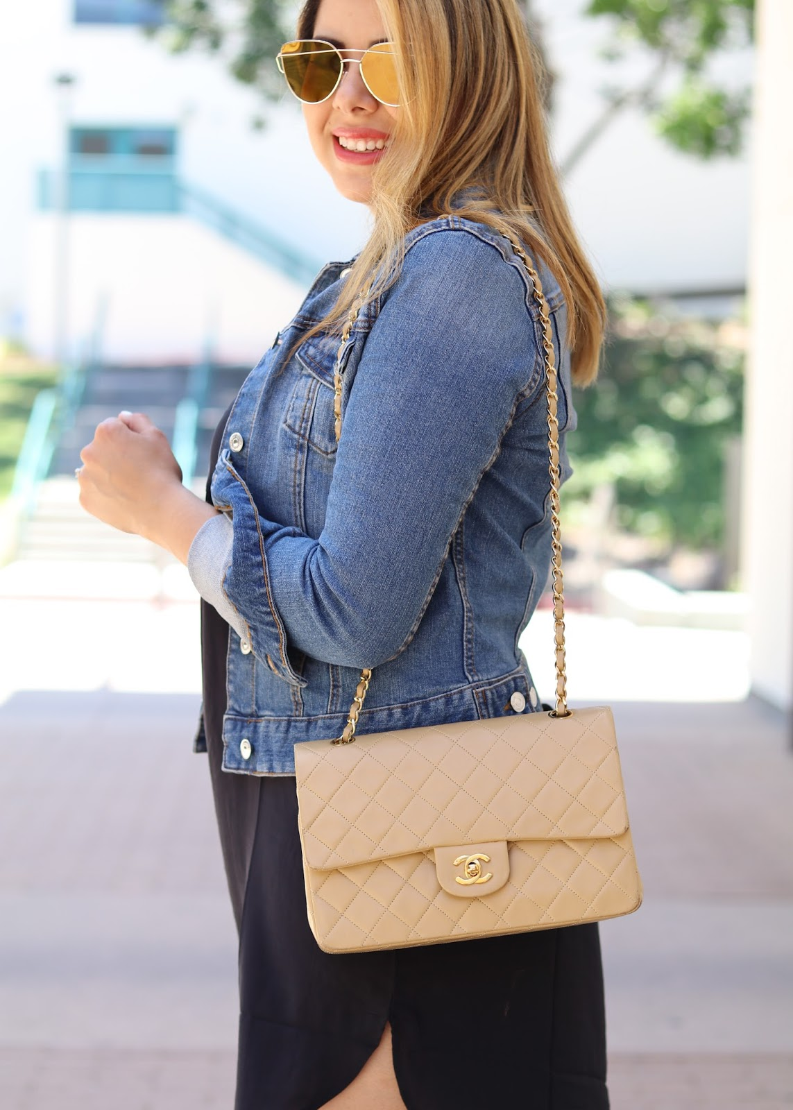 windsor store gold sunglasses, latina fashion blogger, fashion blogger in san diego, how to wear a jean jacket