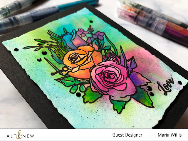 #mariawillis, #cardbomb, #altenew, #watercolorbrushmarkers, #watercolor, #flowers, #cards, #stamp, #ink, #paper, #art, #papercraft, #cardmaker, #color, #video, #videotutorial,