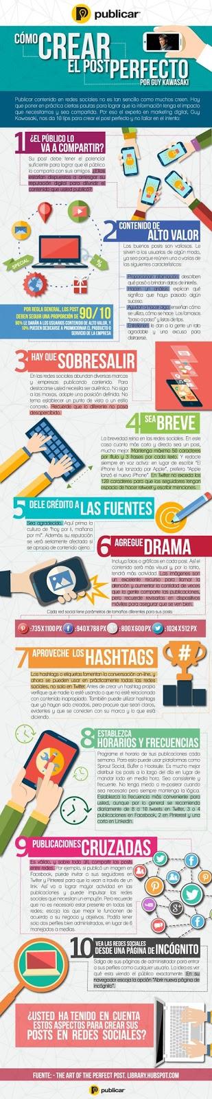10 tips para crear el post perfecto en las Redes Sociales [Infografía]