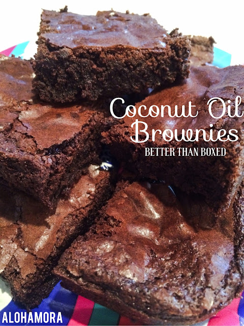 Coconut Oil Brownies- These brownies are better than boxed brownies and super quick and easy to make.  Use a Gluten Free all-purpose flour and you have have a great GF brownie with the best fudgy texture and taste.  Delicious! Alohamora Open a Book http://alohamoraopenabook.blogspot.com/ easy, simple, dairy free, amazing, better than box, homemade, scratch.