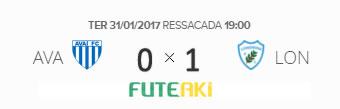 O placar de Avaí 0x1 Londrina pela Primeira Fase da Primeira Liga 2017