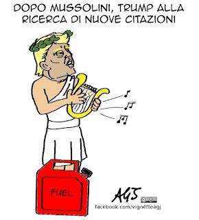 Trump, Mussolini, citazioni, twitter, satira vignetta