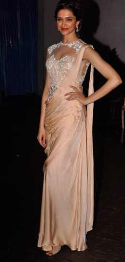 Dress no. 27 - Deepika Padukone in Flowing Material Saree