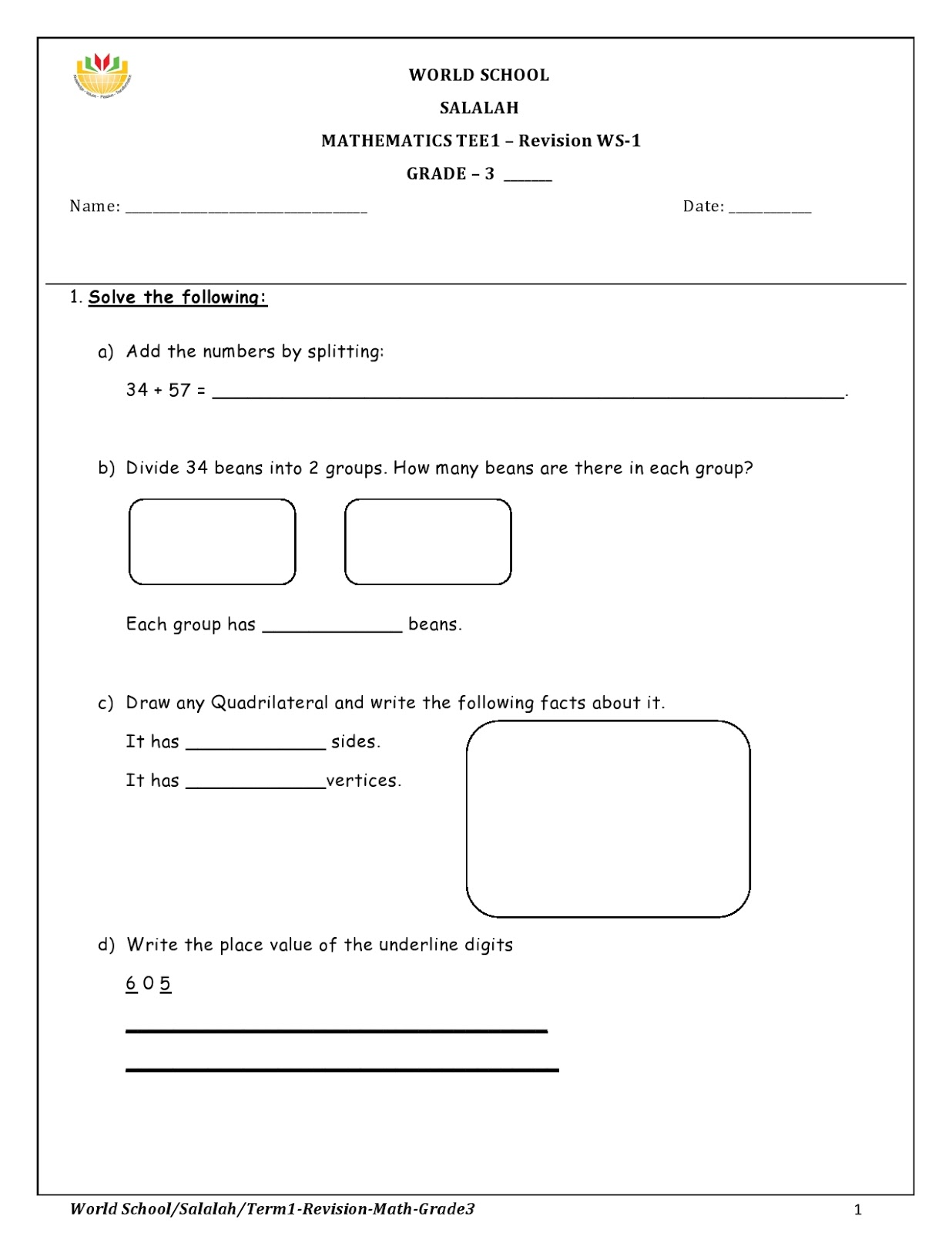 Birla World School Oman Homework For Grade 3 As On 25 12