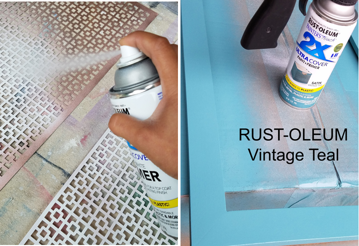 spray painting wooden frames and radiator covers with spray paint
