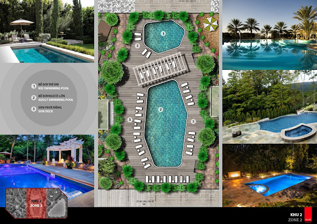 Khuôn viên bể bơi người lớn và trẻ em chung cư The Emerald