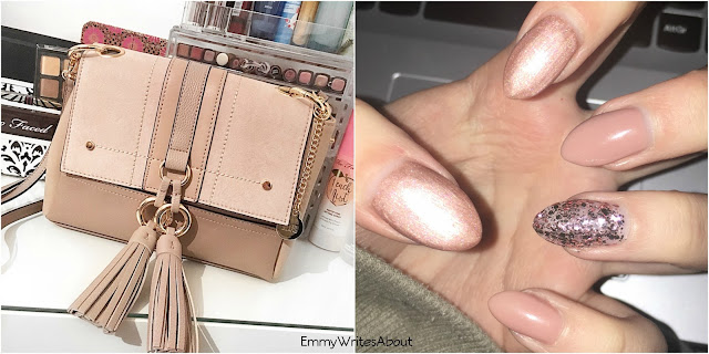 nude nails, nude river island handbag