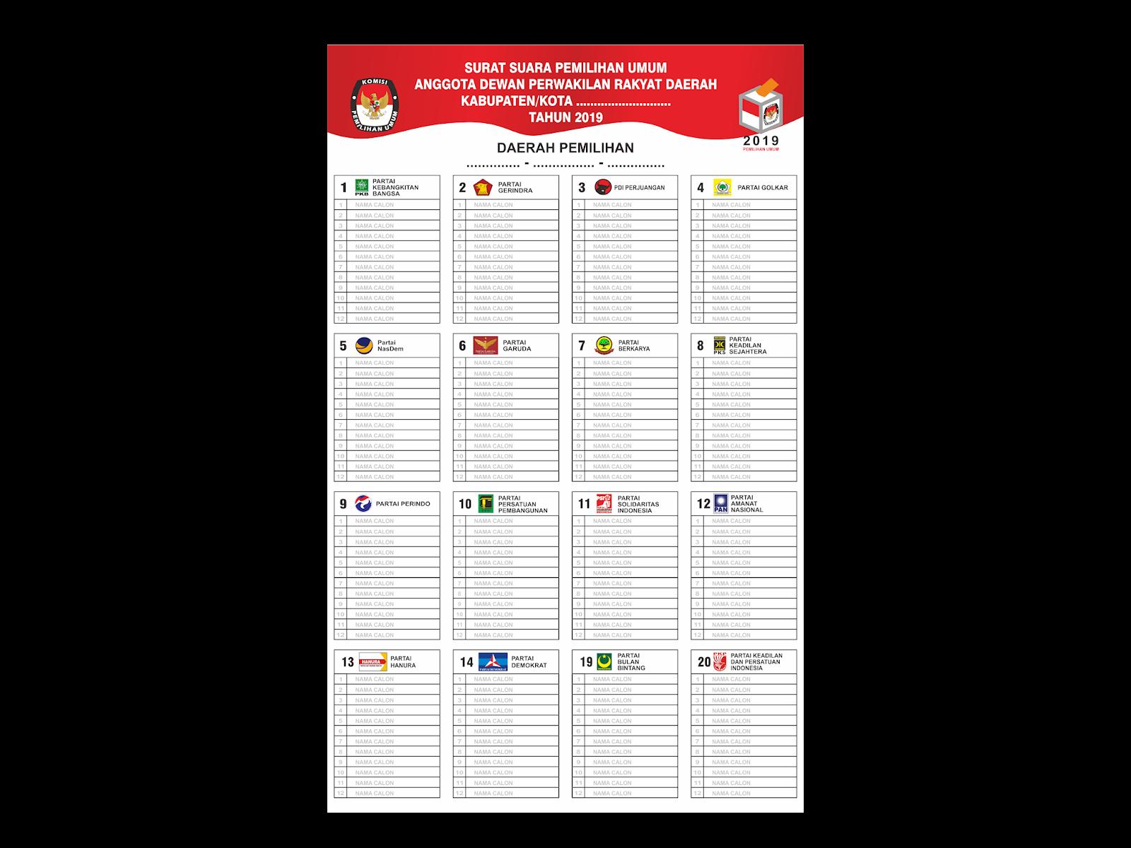 Download Contoh Surat Suara Pemilu Format Cdr Png Svg