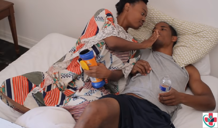 Woman taking care of her husband