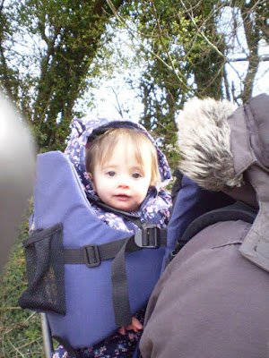 Eldest in baby carrier on Dad's back