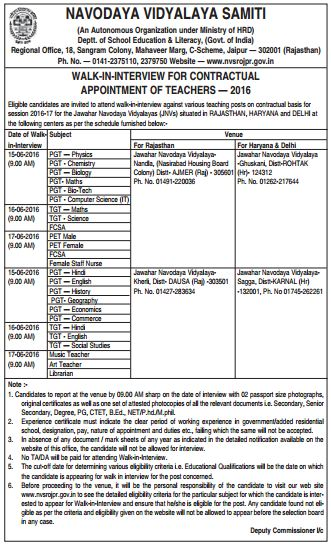 Walk in interview for various teaching and non teaching vacancy posts in NVS Jaipur