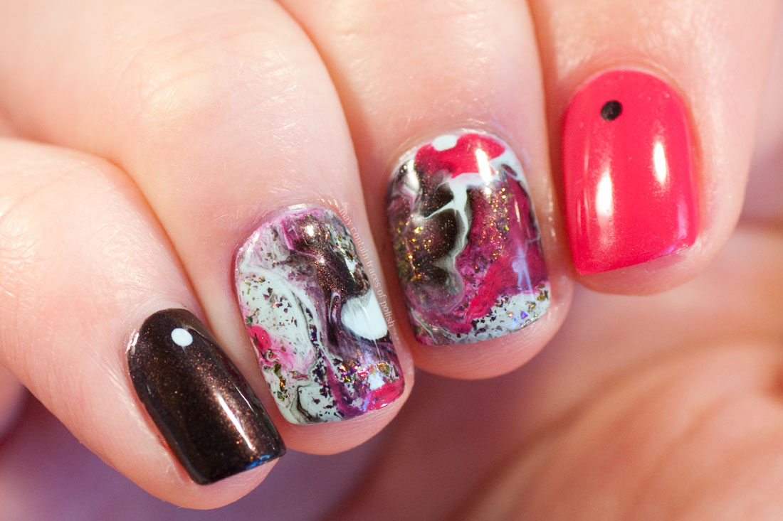 Easy pink manicure - Swirl Marble Nail Art