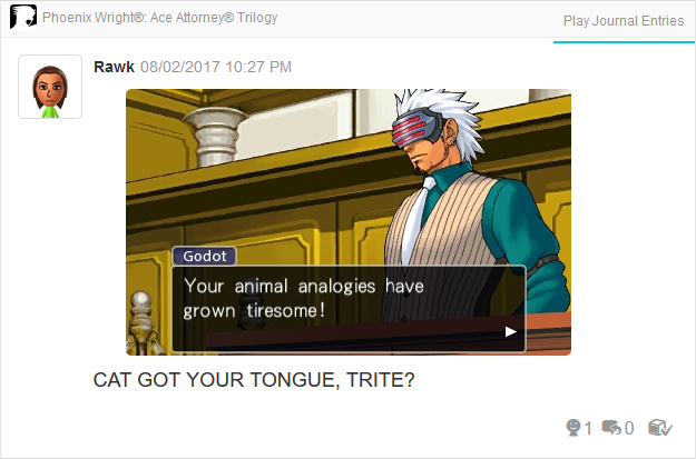 Phoenix Wright Ace Attorney Trials and Tribulations Godot animal analogies tiresome