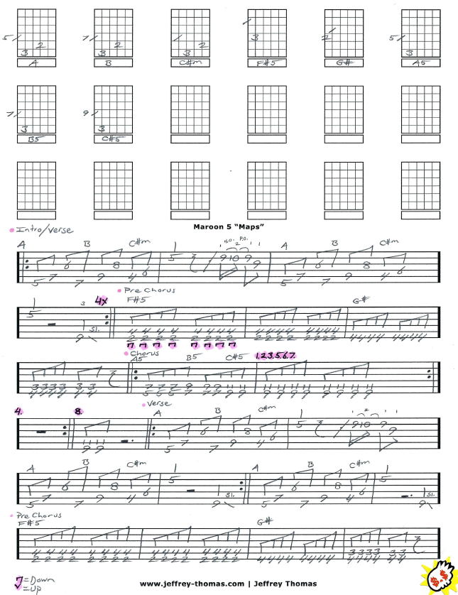 partition guitare maroon 5 maps